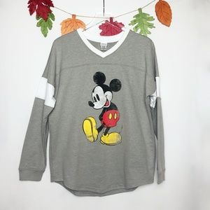 Disney | Mickey Mouse Grey V-Neck Long Sleeve  XL